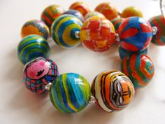 Hundertwasser rules - ceramic beads, hand made, hand painted
