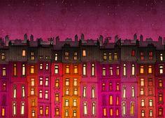 Paris illustration - Paris red facade (landscape) - Fine art illustration, Fine art prints, Art Posters, Love,Paris art,Paris decor,red. $20,00, via Etsy.
