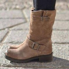 Plus size adjustable buckle ankle boots block heel riding boots - Winter Boots Boot Over The Knee, Over Boots, Low Heel Boots, Low Heels, Bootie Boots, High Boots, Women's Boots, Casual Heels, Casual Boots