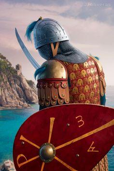 Byzantine tagmata by Joan Francesc Oliveras Pallerols Medieval World, Medieval Armor, Medieval Fantasy, Ancient Rome, Ancient History, Byzantine Army, Eslava, Viking Character, Armadura Medieval