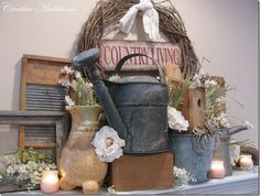 country old-timey things for the mantel