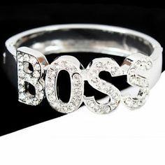 Rhinestone Bangle Bracelets | ... Inspired Boss Lettering Rhinestone Crystal Bangle Bracelet | eBay