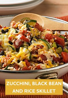 This healthier Zucchini, Black Bean and Rice Skillet recipe is ready for dinner in just 30 minutes!