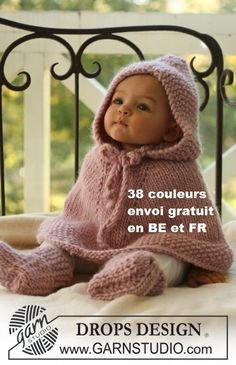 Poncho baby in pure wool knitted hand color choice by lamainlefil