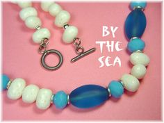 By The Sea - Aqua Blue Sea Glass & White Branch Coral Sterling Silver Necklace - ONLY 1 - FREE SHIPPING IN USA