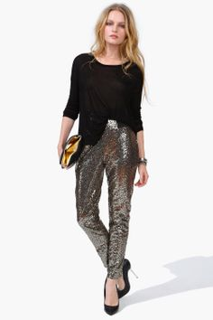 #NYE Outfit:  Instead of a full sequined dress, try something unique like these sequined #harem pants.  Love the cool, chic style of this look! #sequins
