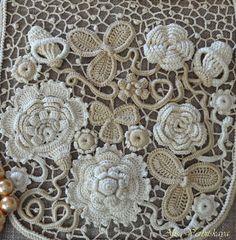 Bolsa bolsa bolso cosmético Irish crochet encaje por AlisaSonya