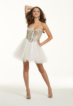 Short Strapless Glitter Corset Dress from Camille La Vie and Group USA