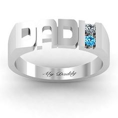 #Personalize this Dad Cut-out Birthstone #Men's #Ring #fordad #daddy #jewelry