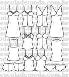 Moldes de camisolas e baby-dolls e calcinhas