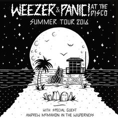"Jamie Browne su Instagram: ""Poster design for @weezer & @panicatthedisco 2016 summer tour  #jamiebrowneart #weezer #poster #summer #moon #beach #palmtree #nighttime #righttime #originalart #skullusion #tropical #gloom #staychill #jb"""