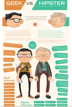 Funny Geek vs Hipster infographic