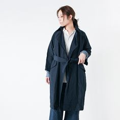 "【2016ss新作】toujours(トゥジュー)コットンリネンラップコート""Over Sized Wide Sleeve Wrap Coat"" sm24ac01"