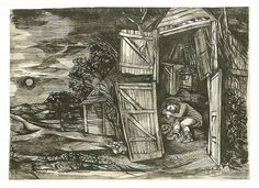 """John Minton """"Young man asleep in a barn"""", pen and ink wash, 1946 Collage Illustration, Book Illustrations, Graphic Illustration, British Artists, English Artists, John Minton, Ink Wash, Work Inspiration, Young Man"""