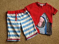Mini Boden boys outfit appliqué shark top baggies shorts 2-3 EUC 2T 3T