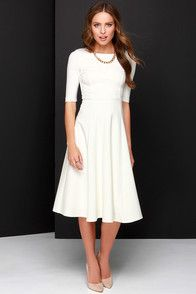 You've got an invitation to look like a million bucks in the Having a Shindig Ivory Midi Dress! This midi dress has a flared skirt and a form flattering bodice. White Dress With Sleeves, White Midi Dress, Dresses With Sleeves, Half Sleeves, Simple White Dress, White Dress Winter, White A Line Dress, Ivory Dresses, Modest Dresses