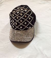 Rhinestone Luxurious Bling Bling Sparkling Black Baseball Cap Hat
