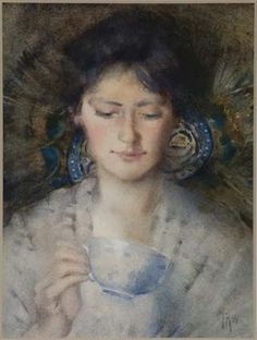 1896 Frances Hodgkins (New Zealand artist, Fortune Teller Frances Mary Hodgkins was a painter chiefly of lands. Helene Schjerfbeck, New Zealand, Mona Lisa, Mary, France, Gallery, Artwork, Neo, Painting