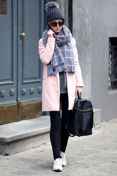 light pink pink coat Sheinside coat - black jeans - dark gray hat