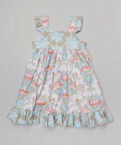 Look at this White Priscilla Damask Flutter Dress - Infant, Toddler & Girls on #zulily today!