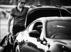 editorial mens fashion, cars, black and white, sunglasses,
