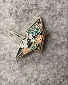 Origami Crane Enamel Lapel Pin with floral Japanese pattern Jacket Pins, Cool Pins, Pin And Patches, Pin Badges, Lapel Pins, Pin Collection, Bling Bling, Stickers, Creations
