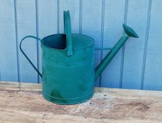 Vintage Watering Can - Green Watering Can by theindustrycottage on Etsy