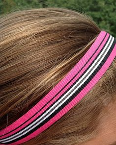 One Up Pink with Black and White Stripes Non Slip Headbands