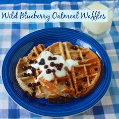 Fire up the waffle iron: Wild Blueberry Oatmeal Waffles | Teaspoonofspice.com #ad