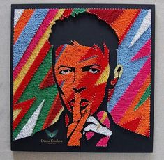 David Bowie portrait string art by @diana_di_kiseleva (instagram) #stringart #art #portrait #davidbowie