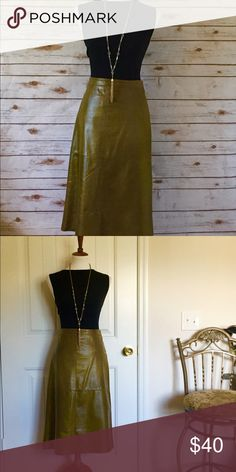 Gap Leather Skirt 100% Leather Skirt by Gap. Olive Green. Excellent condition. Size 8 GAP Skirts
