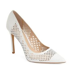 """Vince Camuto 'Nico' Pump, 3 1/2"""" heel (435 QAR) ❤ liked on Polyvore featuring shoes, pumps, picket fence leather, pointed toe high heel pumps, pointed toe shoes, vince camuto pumps, cut out pumps and leather high heel pumps"""
