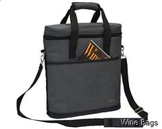 Wine Bag - Vina 3 Bottle Wine Carrier - Travel Insulated Wine Carrying Case Tote Bag for Champagne Picnic Cooler Blue + Free Corkscrew