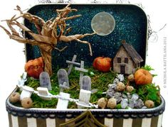 Altered Altoid Tin with Tiny Spooky Scene