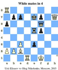 White mates in 4. Urii Eliseev vs Oleg Nikolenko, Moscow, 2015 www.chess-and-strategy.com #echecs #chess #jeu #strategie
