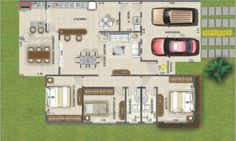 Planta de casa terrea com 3 quartos e varanda gourmet cod 104 planta humanizada Model House Plan, Dream House Plans, House Floor Plans, My Dream Home, Home Design Plans, Plan Design, Villa, Architecture Plan, House Layouts