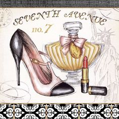 Black And White Heel With Perfume Bottle