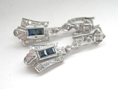 Fabulous Art Deco 12K White Gold Diamond Sapphire Drop Earrings from Bird on a Wire Antiques at RubyLane.com