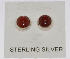 Sterling Silver 6mm Round Cornellion Gemstone Stud Earrings