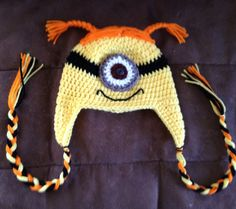 Crochet Despicable Me Red Haired Minion Earflap Beanie - Etsy $15.00
