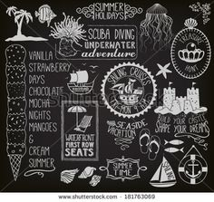 summer holidays chalkboard - blackboard with seasonal labels banners frames and clip art including ships sand castle fish anchor beach umbrella and chair seashells and ice cream Summer Chalkboard Art, Blackboard Art, Christmas Chalkboard, Chalkboard Doodles, Chalkboard Print, Chalkboard Lettering, Chalkboard Text, Chalkboard Calendar, Chalkboard Ideas