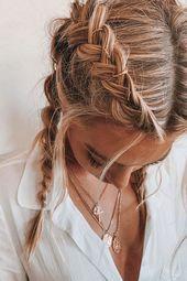 Les meilleures coiffures à cacher - Frisuren, Zöpfe, geflochtene Haare Greasy Hair Hairstyles, Box Braids Hairstyles, Cool Hairstyles, Hairstyle Ideas, Formal Hairstyles, Wedding Hairstyles, Hairstyles Haircuts, Summer Hairstyles For Medium Hair, Evening Hairstyles