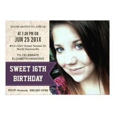 Purple Sweet 16th Birthday Party with large Photo Invites