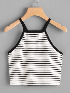 Casual Cami Striped Regular Fit Spaghetti Strap Black and White Crop Length Contrast Binding Crop Striped Cami Top