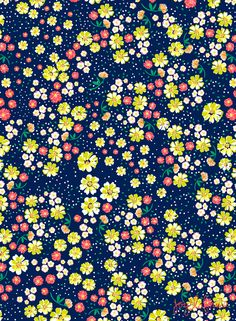 Wild Floral Ditsy in Navy Wallpaper.