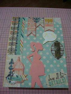 Scrap diário da gravidez com a capa decorada com a coleção da bo bunny e corte da silhouette cameo.