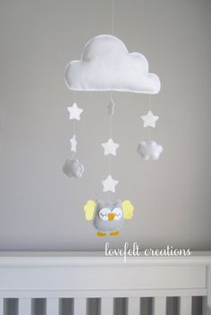 Baby Mobile Owl Owl Nursery Cloud Mobile by LoveFeltXoXo on Etsy