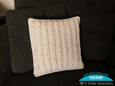 Crochet a cozy cabled pillow the easy way. Rather than using post stitches or other difficult stitches to create cables, this pillow is made using only single crochet and chain stitches. Chain loops are made and then looped together to create a braid type cable. The cabled front and plain back are crocheted together with a pillow insert inside. This pillow is put together in a way that the insert is not removable.