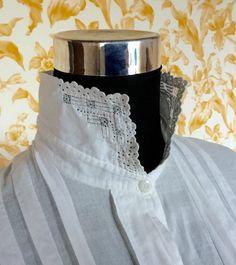 Blanc pur coton Chemise longue antique Français / par LeKrazyHorse