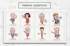 Famous scientists • Vector Set by YetiCrab on @creativemarket